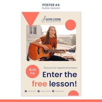 Vertical poster template for guitar lessons