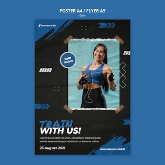 Modello di poster verticale per palestra con atleta femminile
