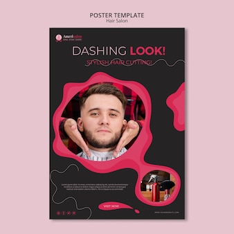 Vertical poster template for hair salon