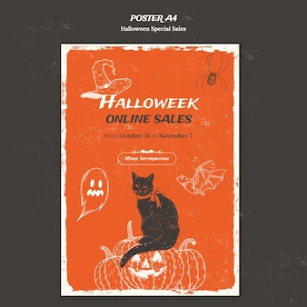 Vertical poster template for halloweek