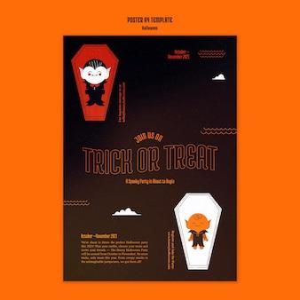 Modello di poster verticale per halloween con vampiro nella bara