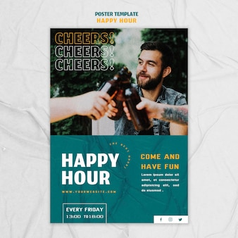 Vertical poster template for happy hour