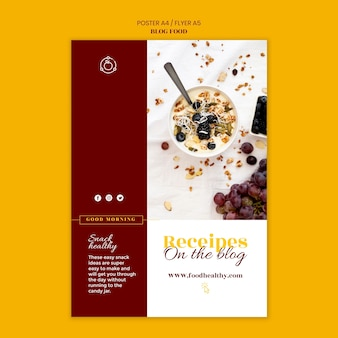 Vertical poster template for healthy food recipes blog