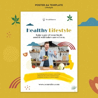 Vertical poster template for healthy lifestyle