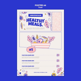 Vertical poster template for healthy meals Free Psd