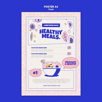 Vertical poster template for healthy meals