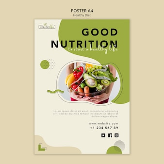 Vertical poster template for healthy nutrition