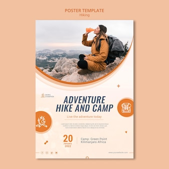 Vertical poster template for hiking in nature