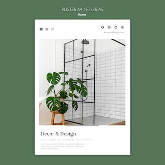 Modello di poster verticale per l'arredamento e il design della casa