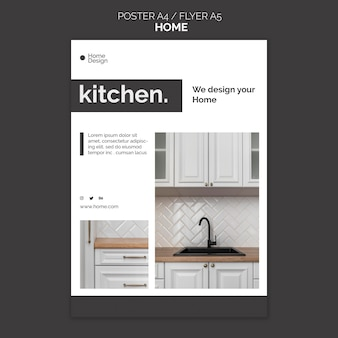 Vertical poster template for home interior design with furniture