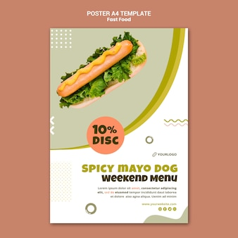 Vertical poster template for hot dog restaurant