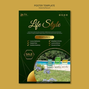 Vertical poster template for hotel and resort