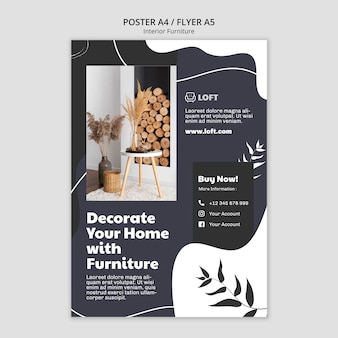 Vertical poster template for interior design furniture