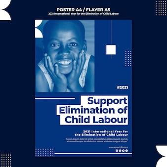 Modello di poster verticale per l'anno internazionale per l'eliminazione del lavoro minorile