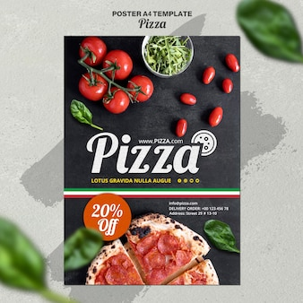 Vertical poster template for italian pizza restaurant
