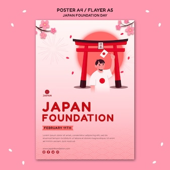 Vertical poster template for japan foundation day with flowers Free Psd