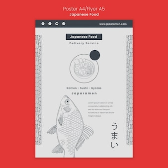 Vertical poster template for japanese food restaurant