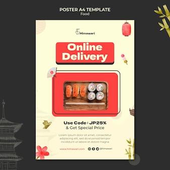 Vertical poster template for japanese food restaurant