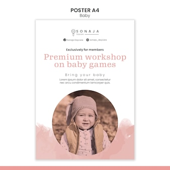 Vertical poster template for kids daycare
