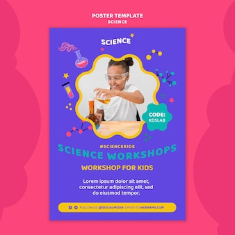 Vertical poster template for kids science