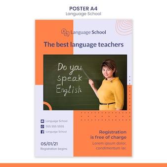 Modello di poster verticale per scuola di lingue