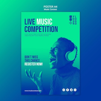 Vertical poster template for live music contest with performer