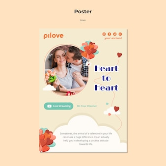 Vertical poster template for love with romantic couple and hearts
