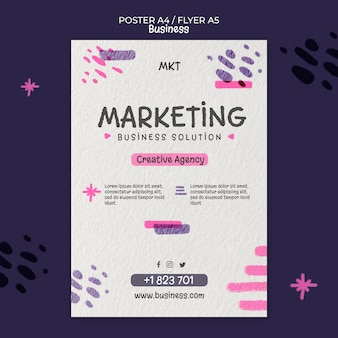 Vertical poster template for marketing agency