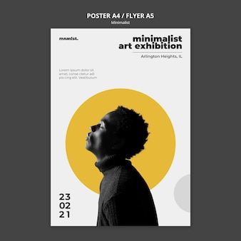 Vertical poster template in minimal style for art gallery with man