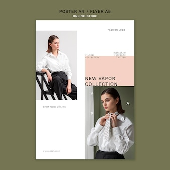 Vertical poster template for minimalistic online fashion store