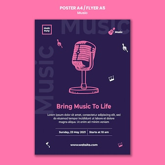 Vertical poster template for music party