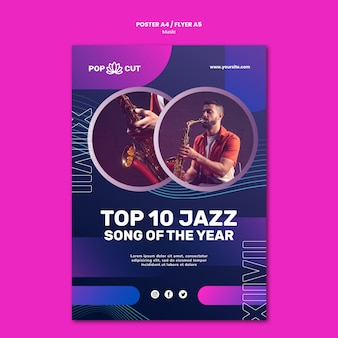 Vertical poster template for music with male jazz player and saxophone