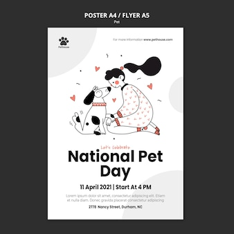 Vertical poster template for national pet day with female owner and pet