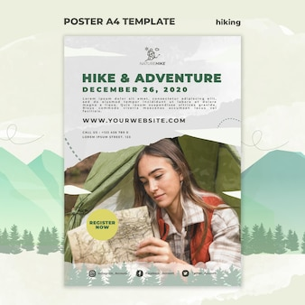 Vertical poster template for nature hiking
