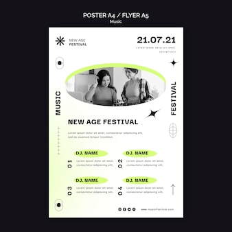 Vertical poster template for new age music festival