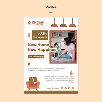 Modello di poster verticale per la nuova casa di famiglia