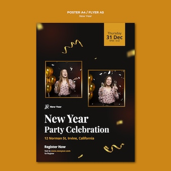 Vertical poster template for new year party with woman and confetti