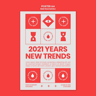 Vertical poster template for new year review and trends