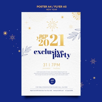 Vertical poster template for new years party celebration