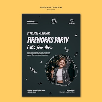 Vertical poster template for new years party
