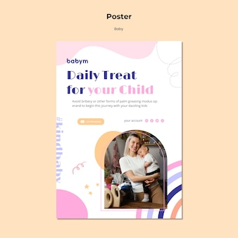 Vertical poster template for newborn baby