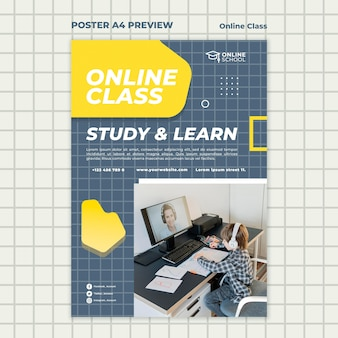 Vertical poster template for online classes with child