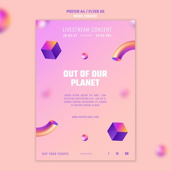 Vertical poster template of out of our planet music concert