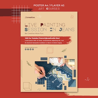 Vertical poster template for painting classes