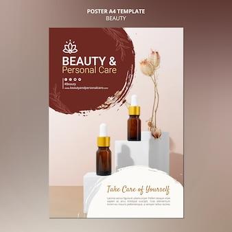 Modello di poster verticale per la cura e la bellezza della persona