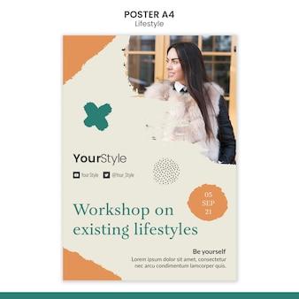 Modello di poster verticale per uno stile di vita personale