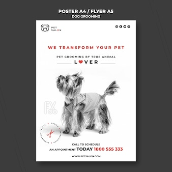 Vertical poster template for pet grooming company