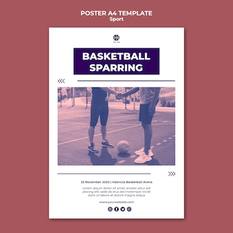 Vertical poster template for playing basketball