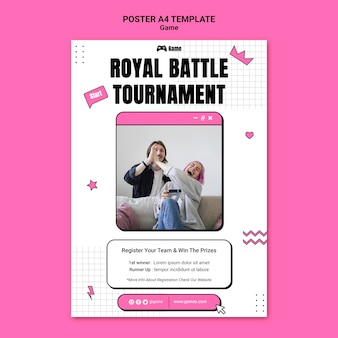 Vertical poster template for playing video games