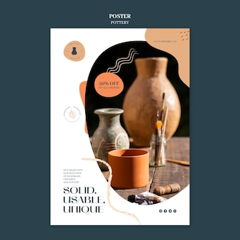 Vertical poster template for pottery with clay vessels